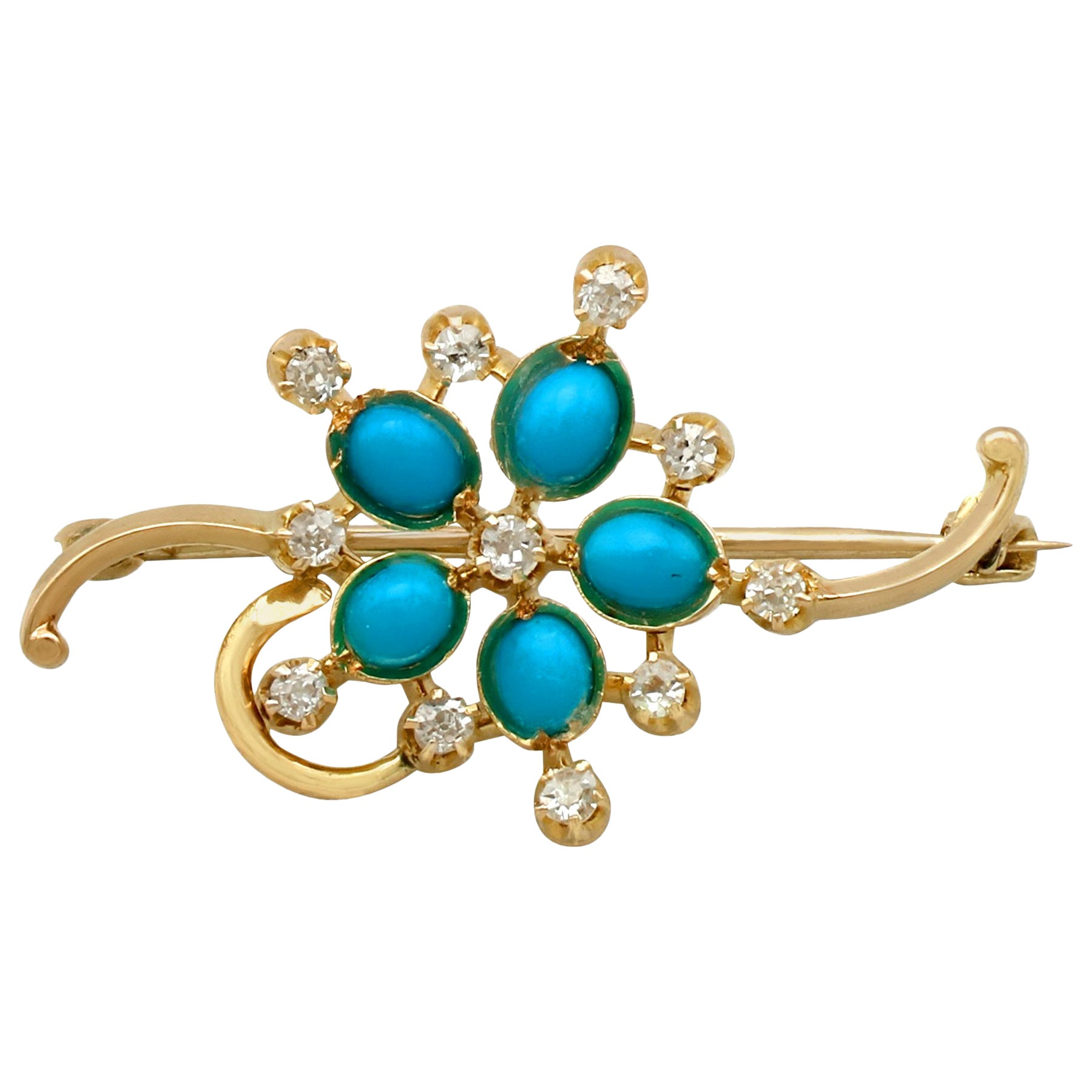 1940s Turquoise and Diamond Yellow Gold Bar Brooch