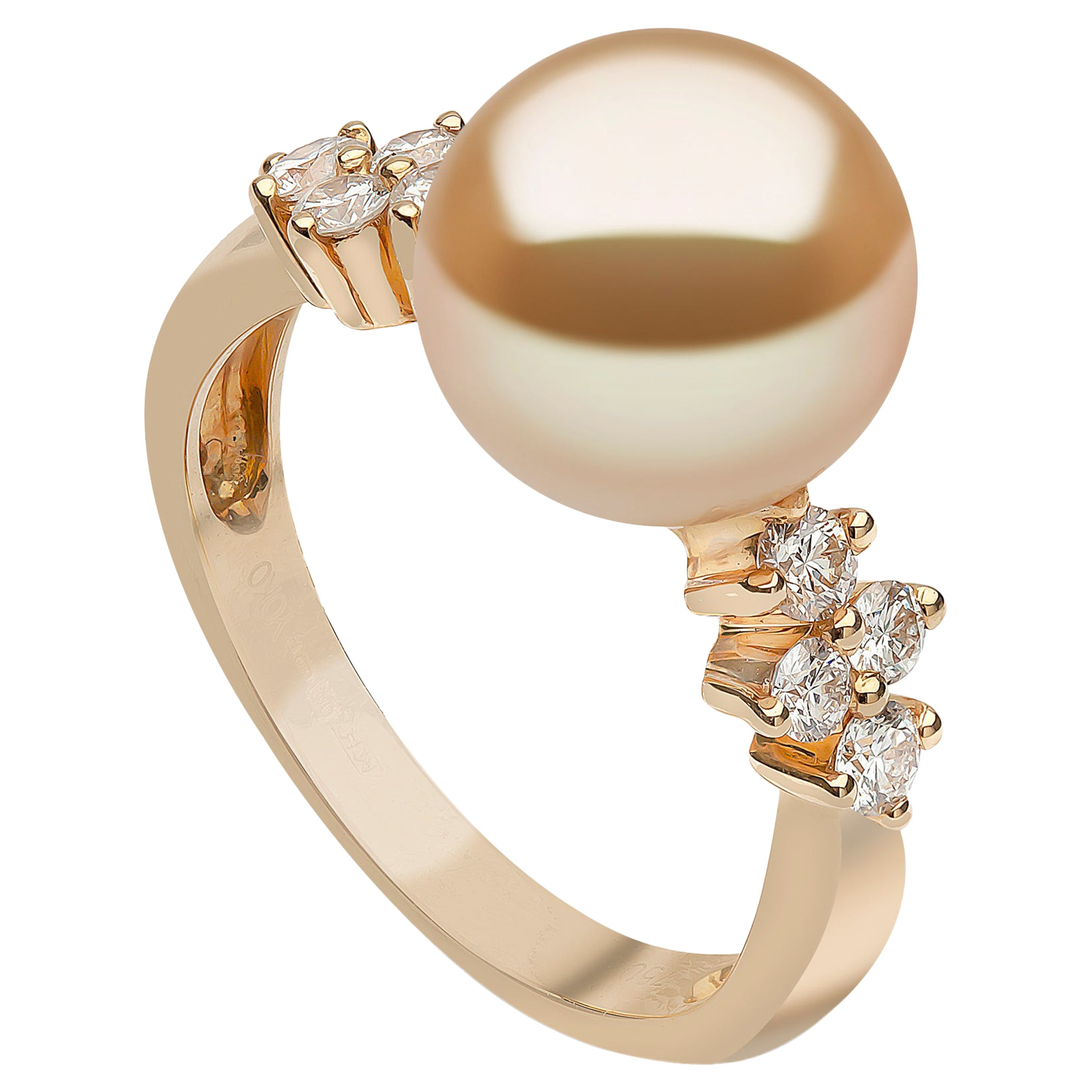 Yoko London Golden South Sea Pearl and Diamond Ring in 18 Karat Yellow Gold
