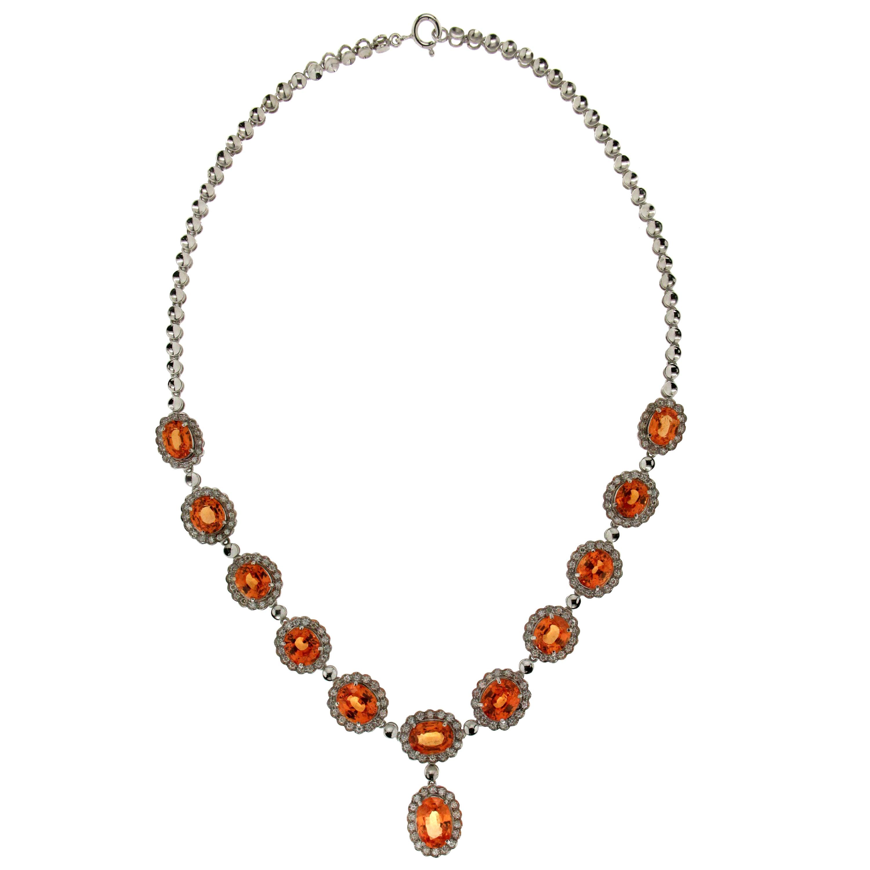 Handcraft Spessartine Garnet 18 Karat White Gold Diamonds Drop Necklace
