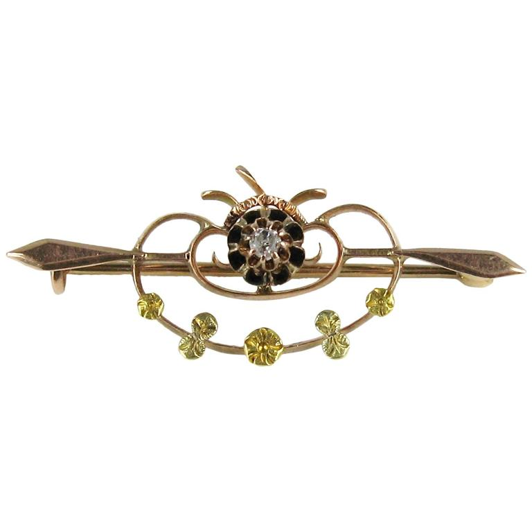 1850s Victorian Diamond Tri-Colored Gold Bar Pin Brooch