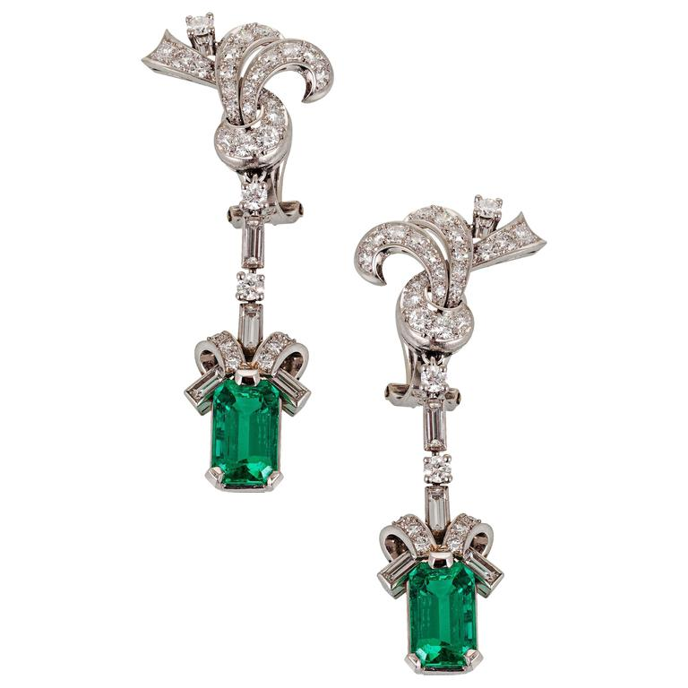 Colombian Emerald Diamond Platinum Dangle Earrings