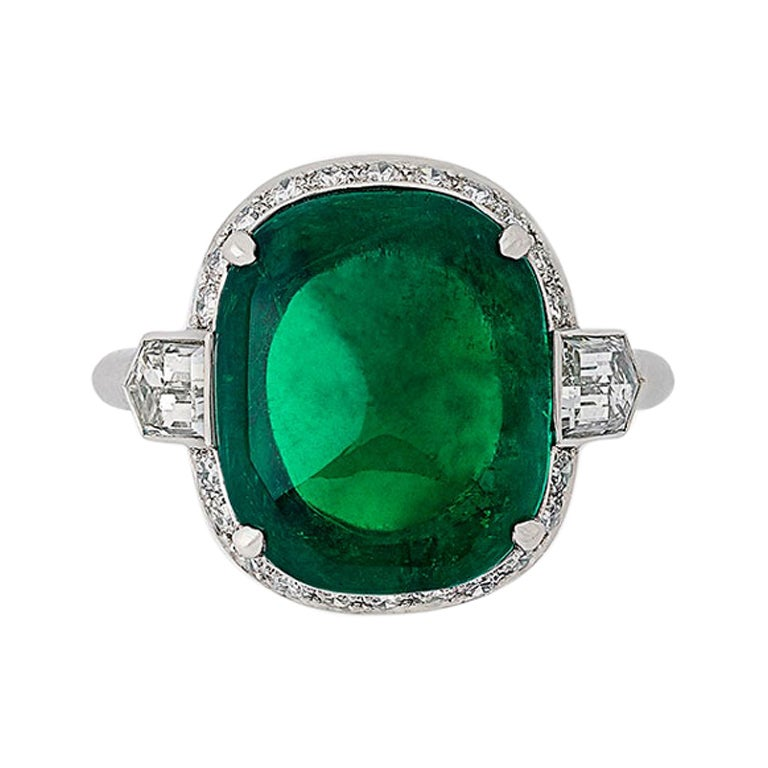 8.59ct Colombian Sugarloaf Cabochon Emerald & Diamond Platinum Ring by Hancocks