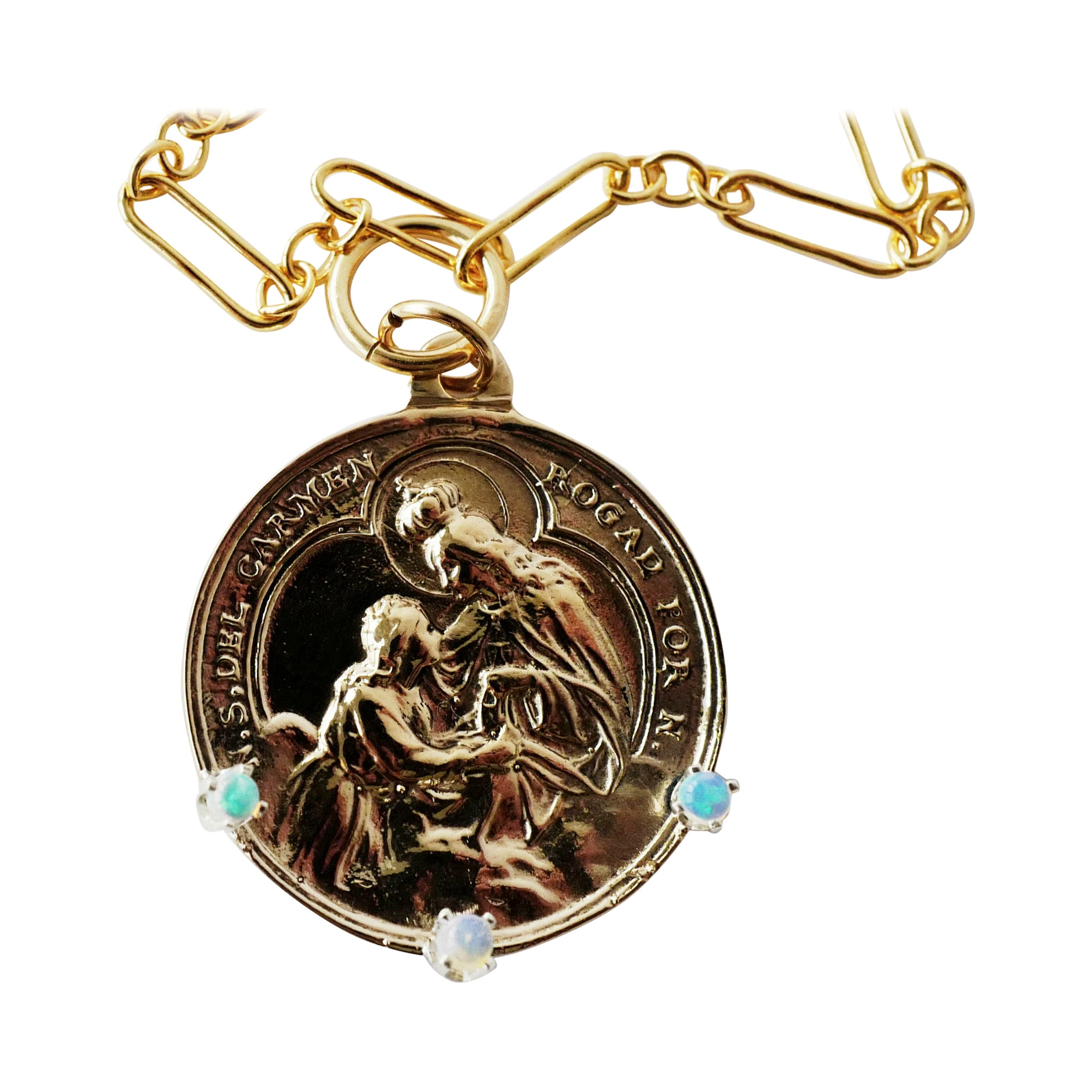 Medal Necklace Chunky Chain Virgin Mary Opal Coin Pendant J Dauphin