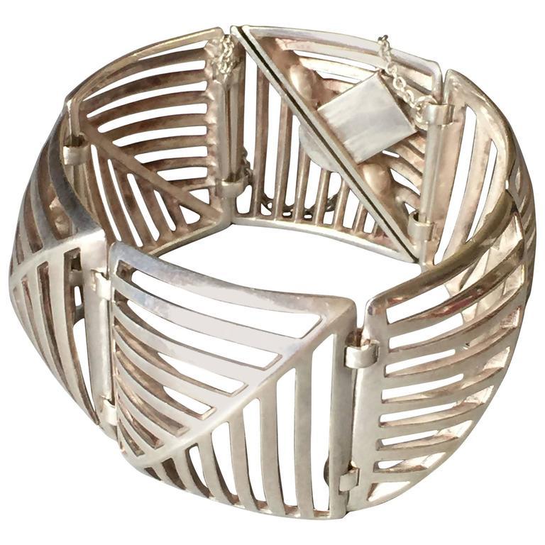 "Georg Jensen Sterling Silver ""Grates"" Link Bracelet No. 389 by Nanna Ditzel"