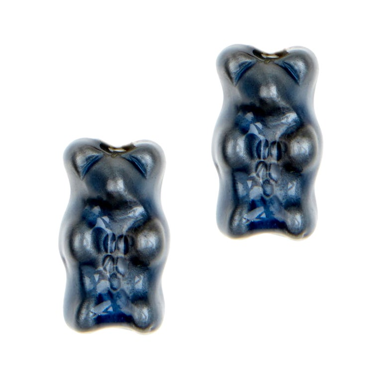 Studs Gummy Bears Blue Colorful Gift Silver 18 Karat Gold-Plated Greek Jewelry