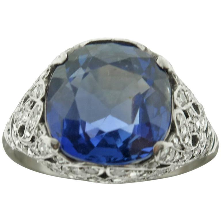 1920s Sapphire Diamond  filigree Platinum Ring 1