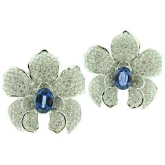 Diamond Sapphire Orchid White Gold Earrings by Carrera & Carrera
