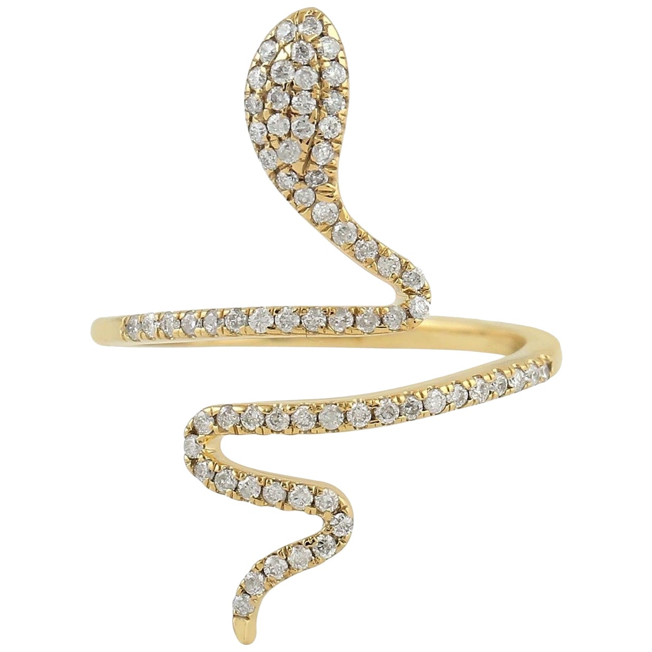 Snake Diamond 18 Karat Gold Ring