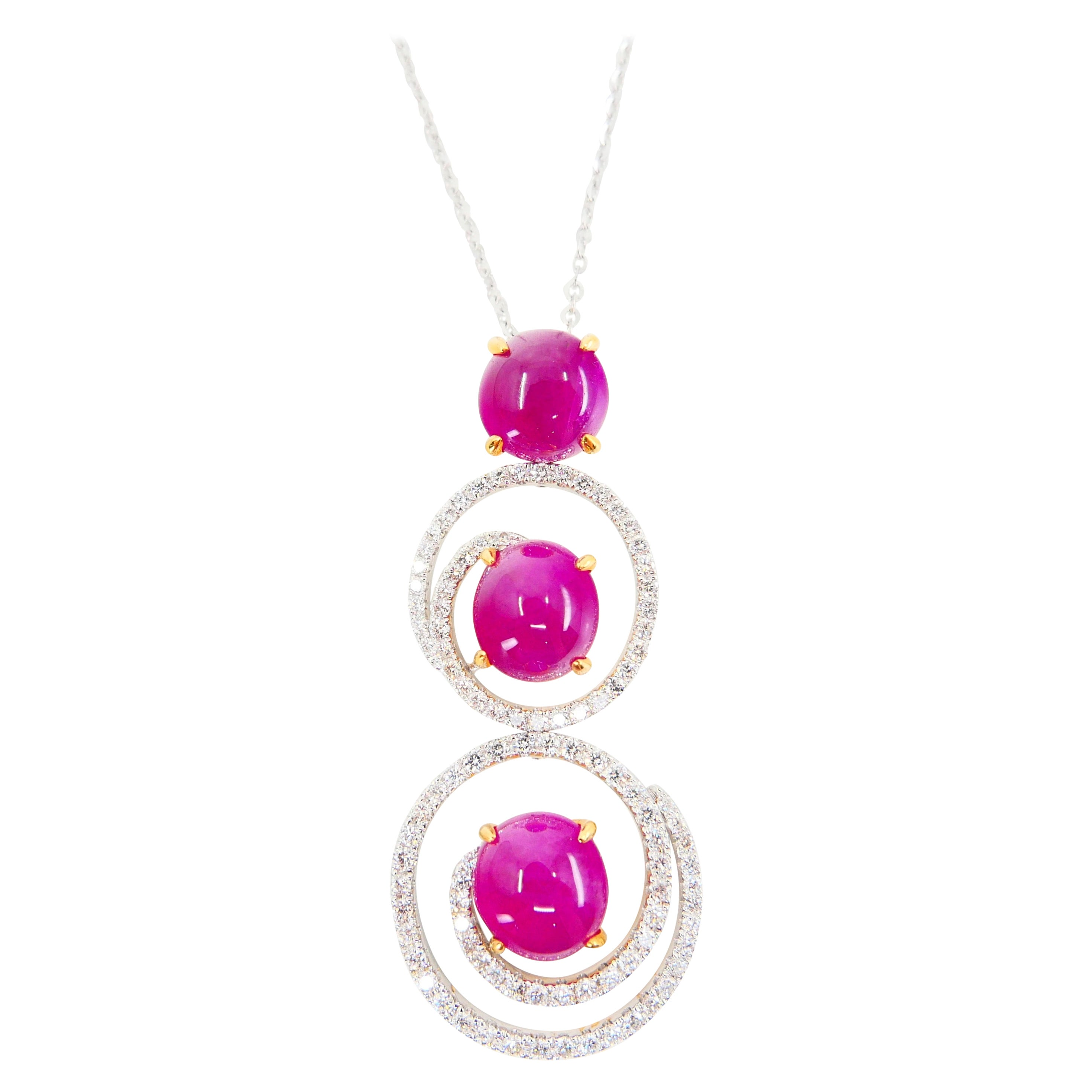 Burma Ruby 7.05 Carat and Diamond Pendant Drop Necklace, Elegant Design