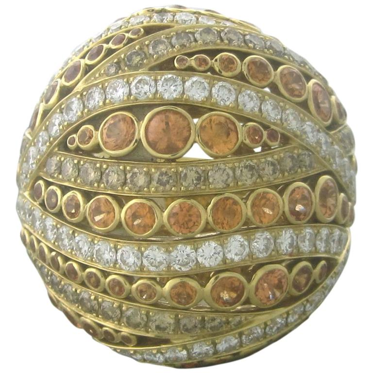 Asprey Gold Diamond Yellow Sapphire Large Ring