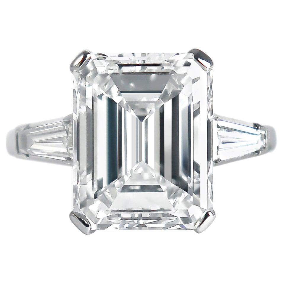 J. Birnbach GIA Certified 7.20 Carat F VVS2 Emerald Cut Diamond Ring