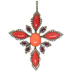 Cathy Waterman Coral Ruby Diamond Gold Pendant