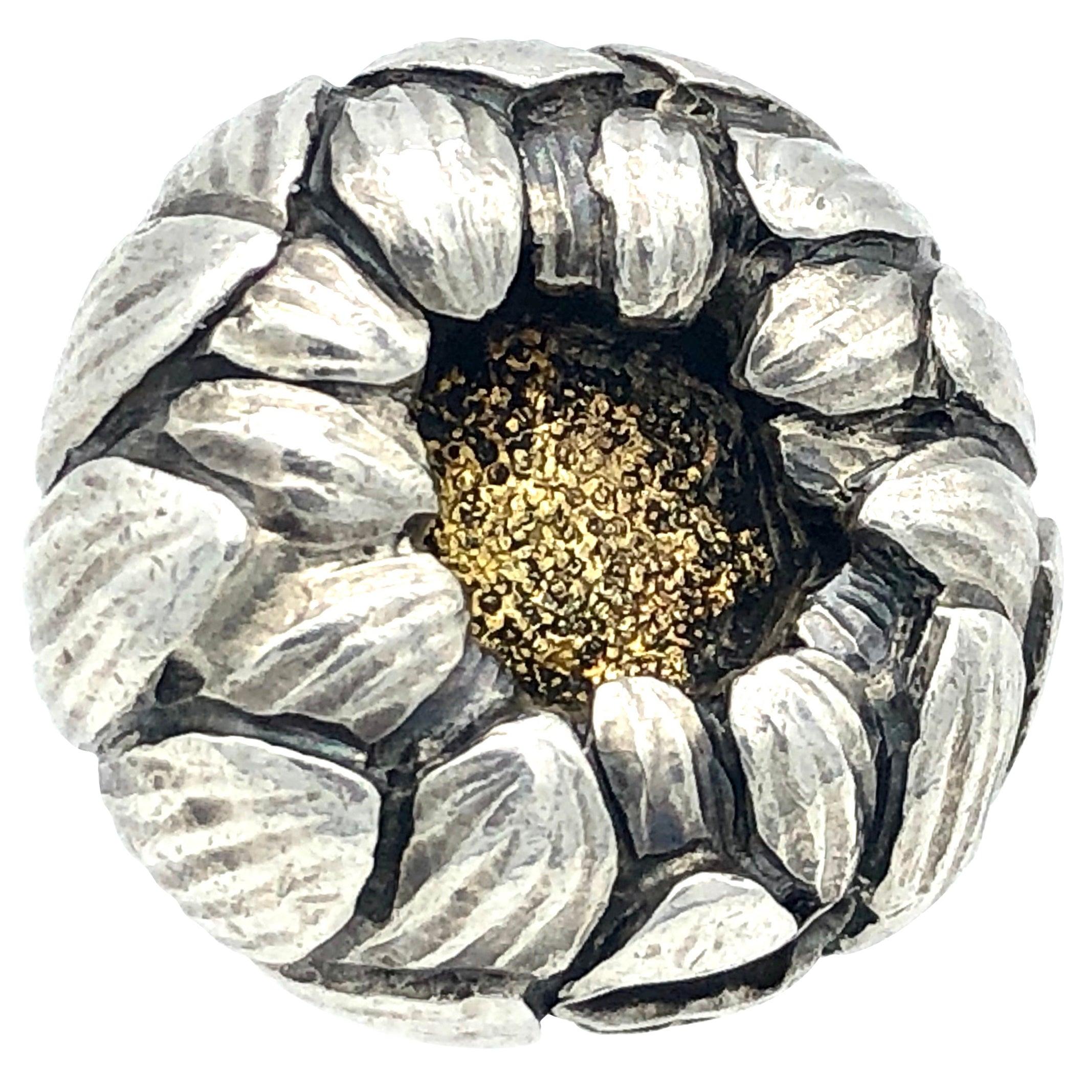 Antique Meiji Japan Chrysanthemum Flower Silver Gilding Button