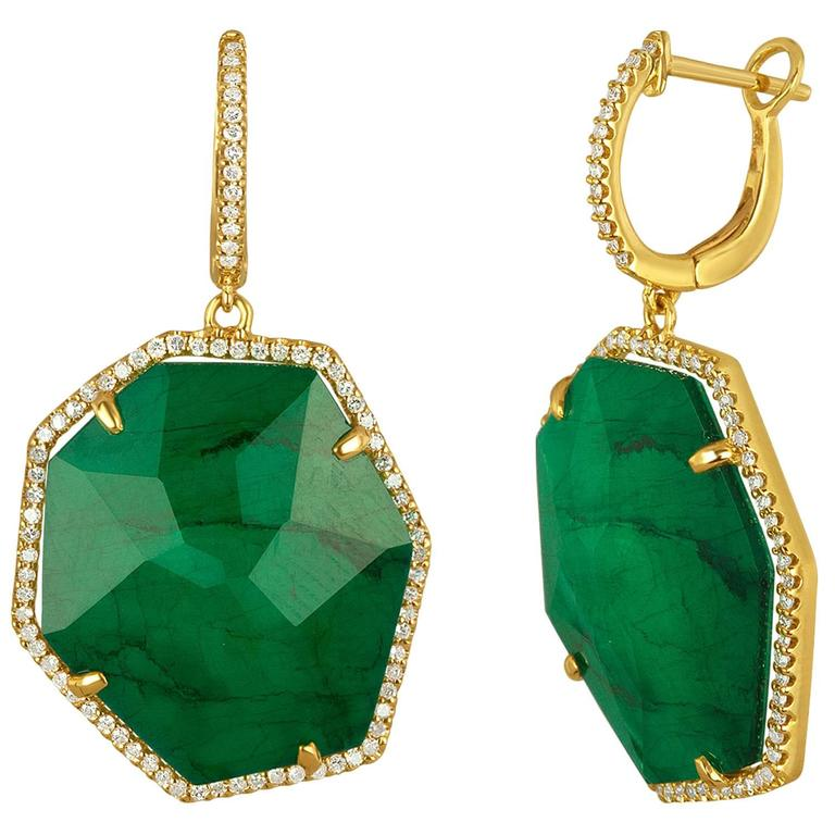Triplet Emerald MOP Rock Crystal Diamond Gold Dangle Earrings