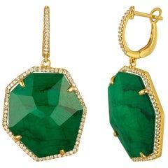 Triplet Emerald MOP Rock Crystal Diamond Gold Dangle Earrings