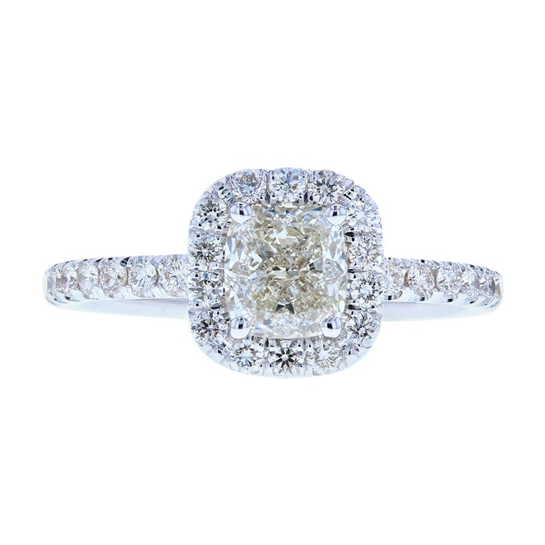 Classic Cushion Cut Diamond Engagement Ring with Diamond Halo