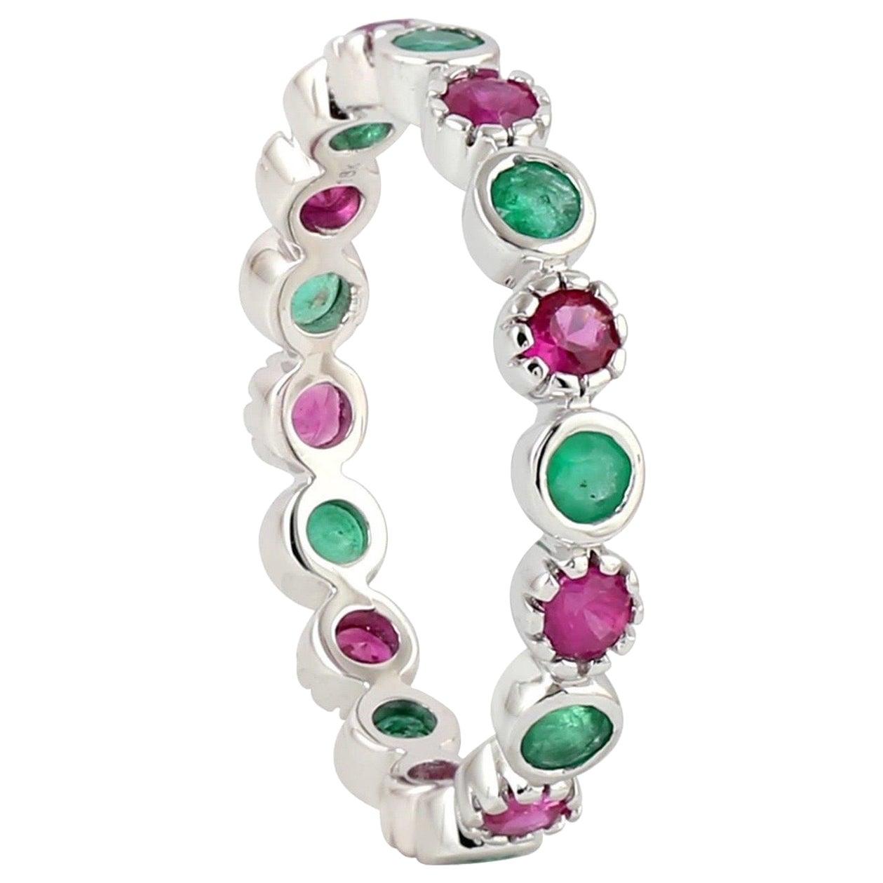 Emerald Ruby 18 Karat Gold Eternity Ring