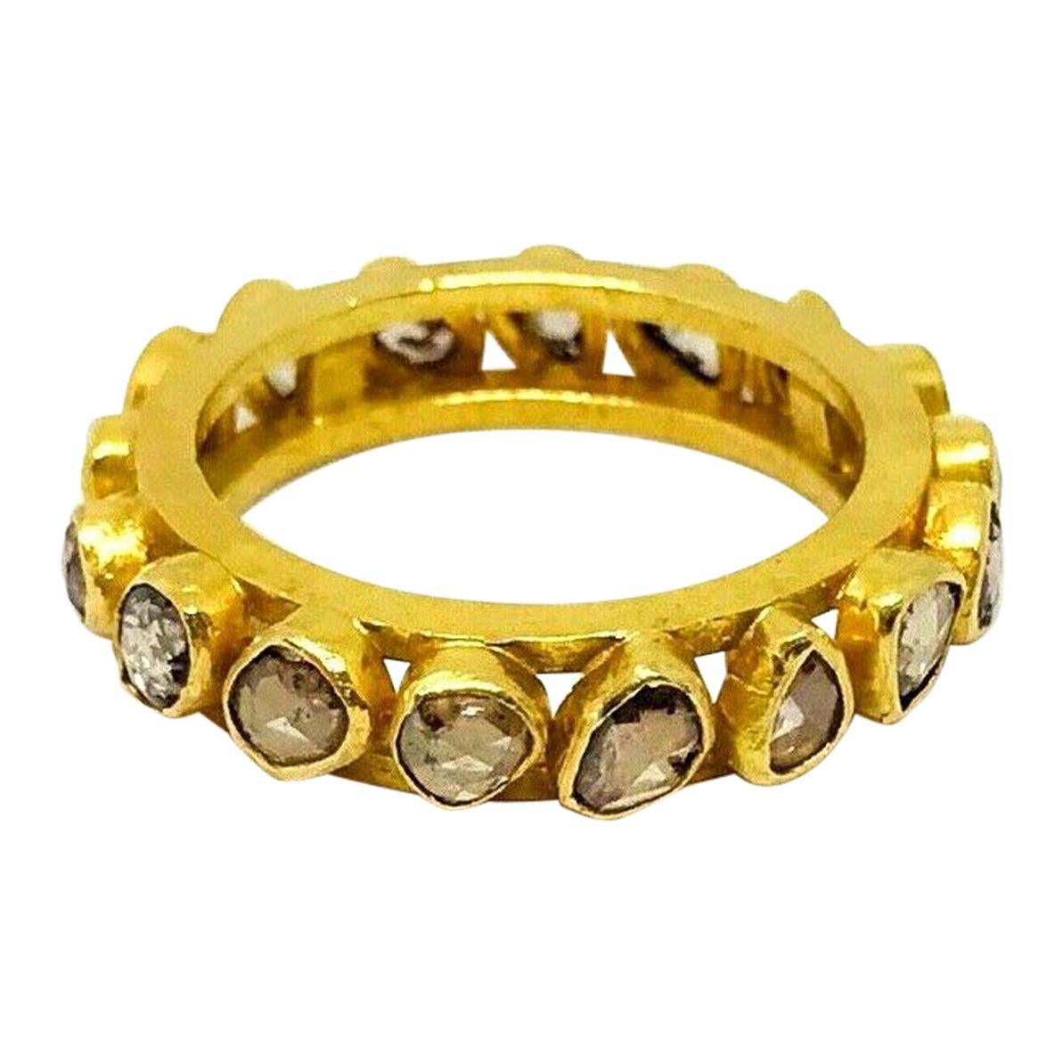 Artisan 22 Karat Yellow Gold Rose Cut Diamond Band Ring