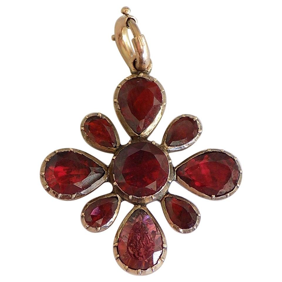 Georgian Foil Backed Garnet Gold Pendant