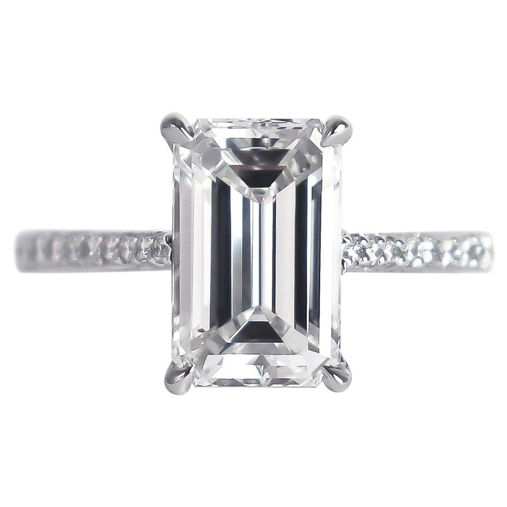 J. Birnbach GIA Certified 3.01 Carat D SI1 Emerald Cut Diamond Solitaire Ring