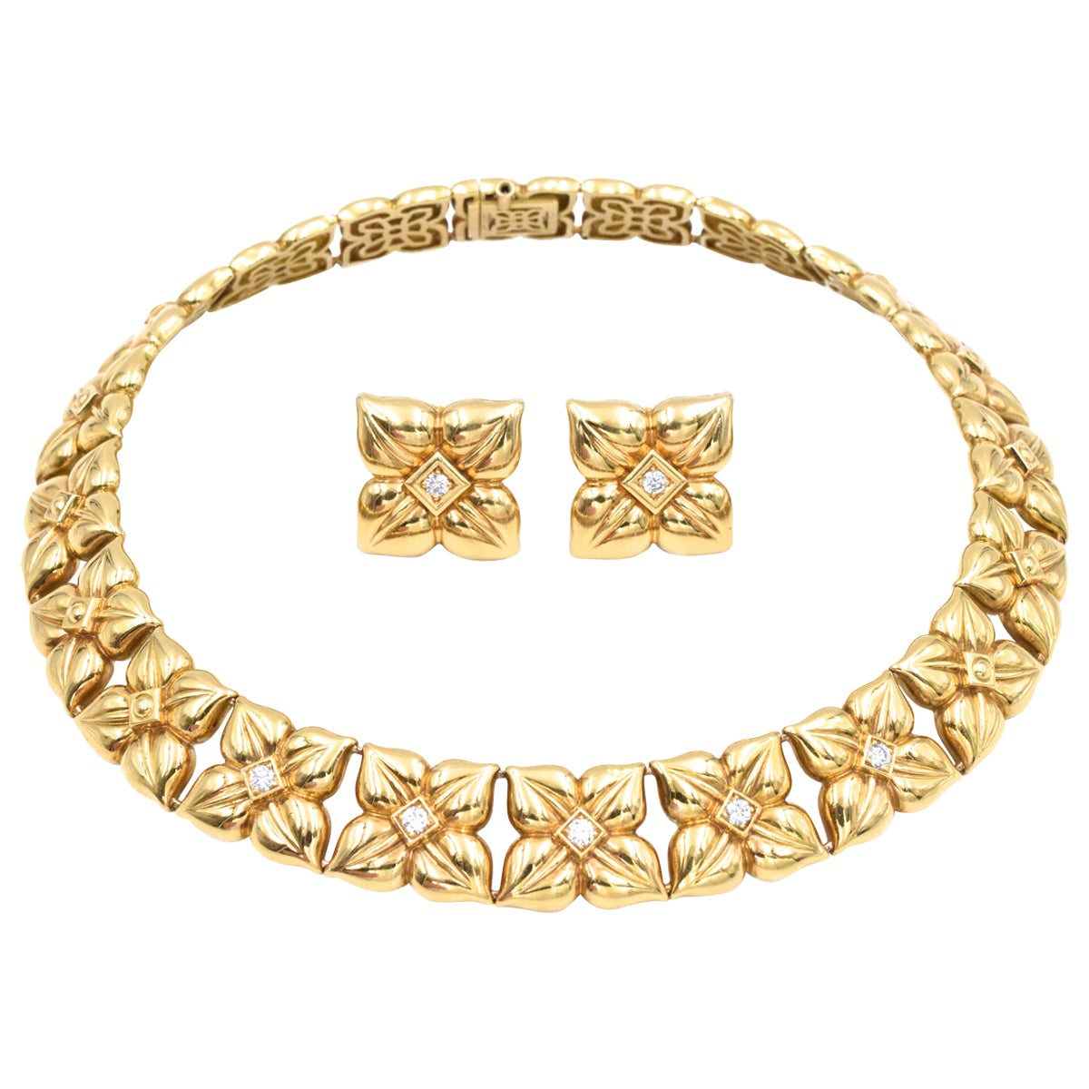 French, Van Cleef & Arpels Gold and Diamond Necklace and Earrings