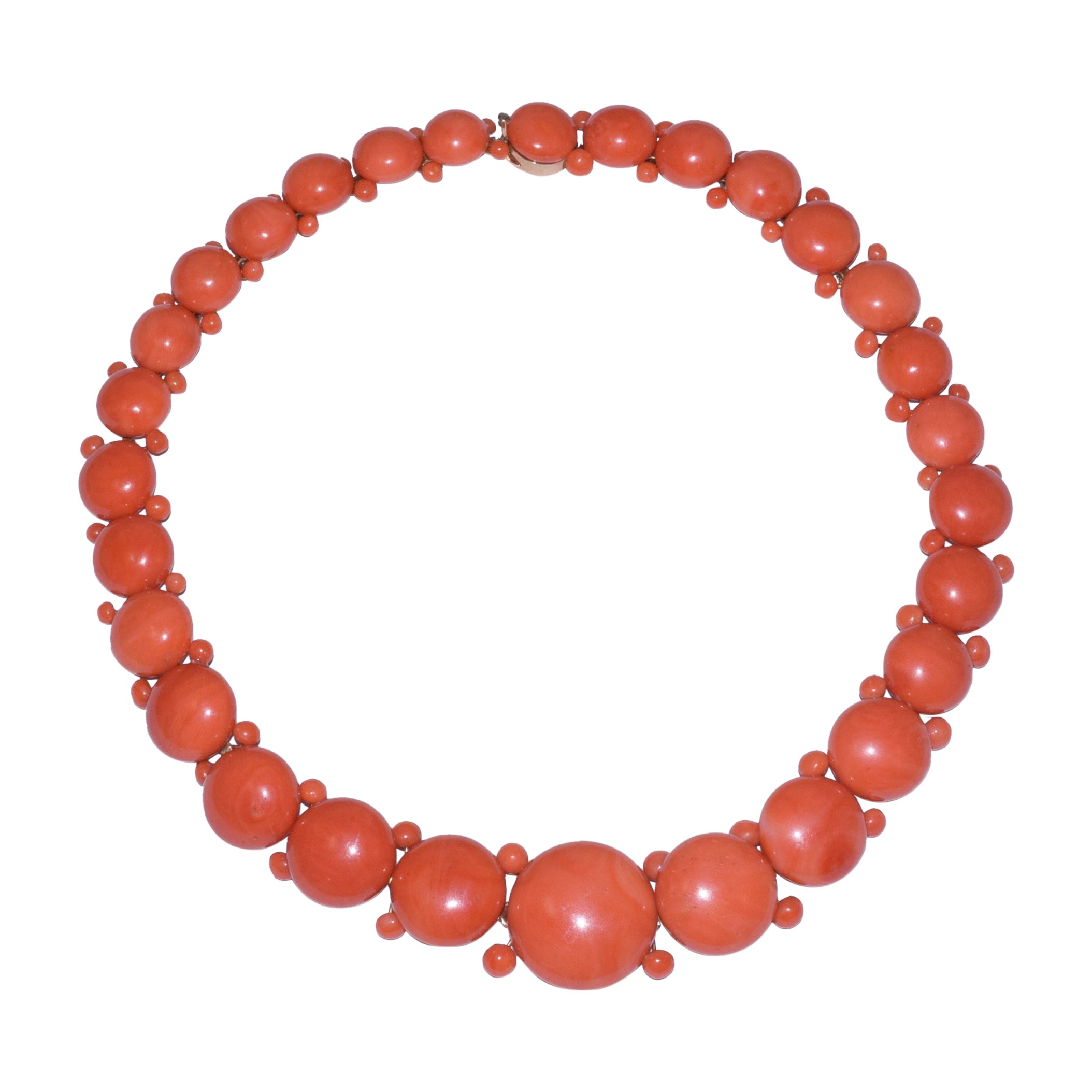Antique Coral Button Riviere Necklace, circa 1850s