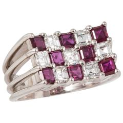 Tiffany & Co. Ruby Diamond Platinum Cocktail Ring