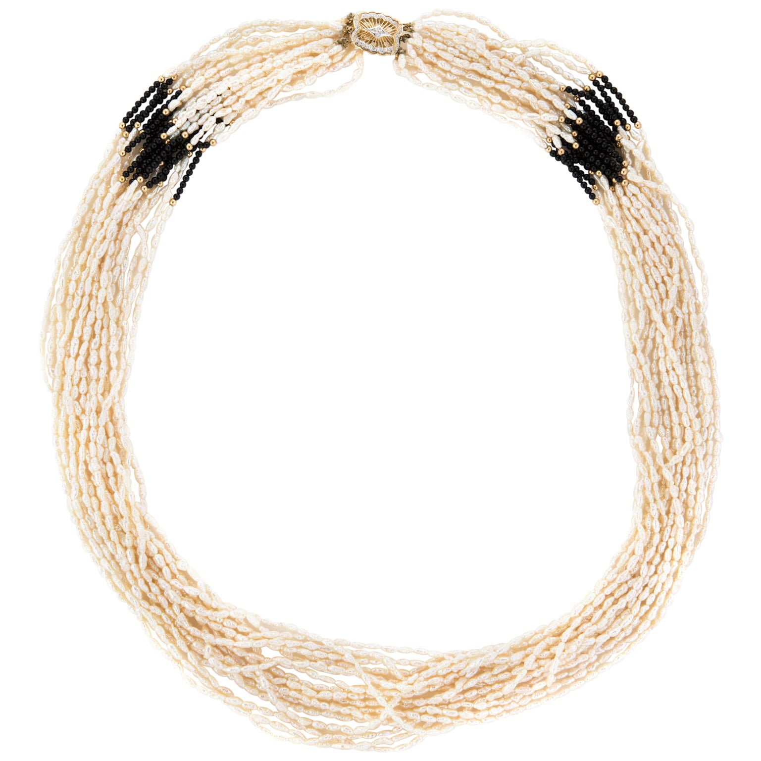 Multi 18 Strand Necklace Freshwater Pearls Onyx Long 14 Karat Gold Vintage