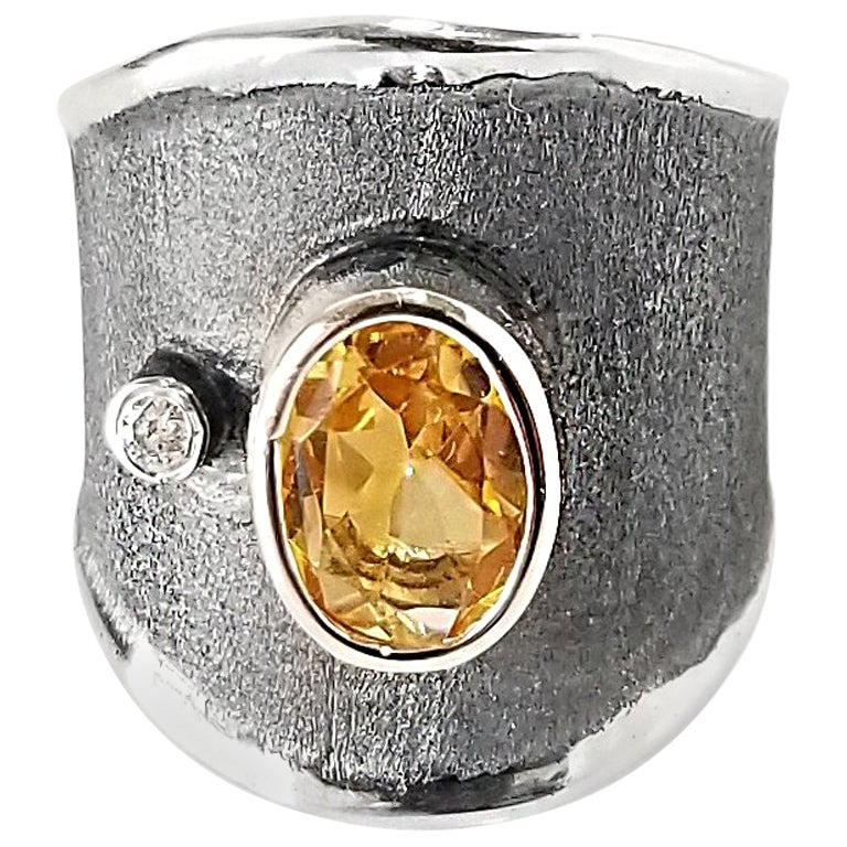 Yianni Creations 1.25 Carat Citrine and Diamond Fine Silver and Rhodium Ring