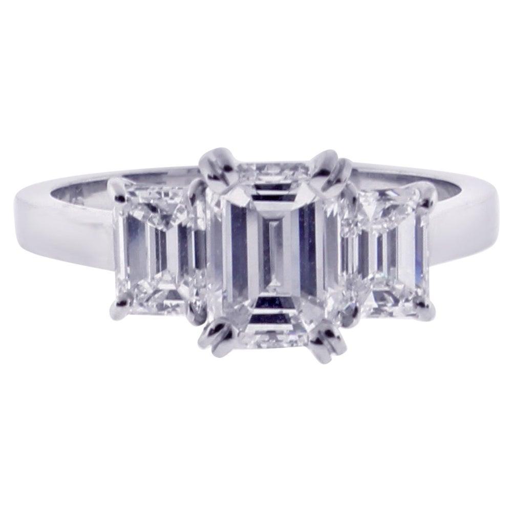 Emerald Cut Diamond Three-Stone Ring