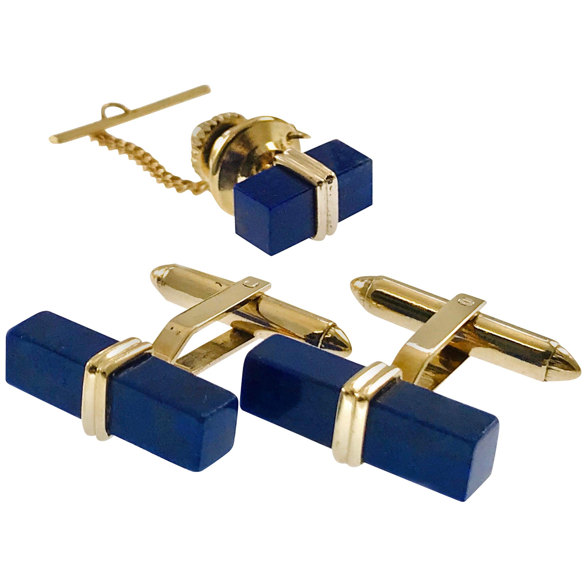 14 Karat Lapis Lazuli Set, Cufflinks, Tie-Tack