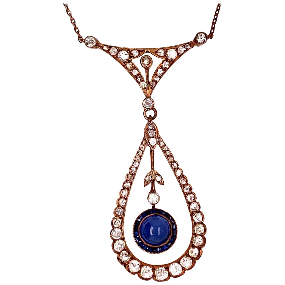Edwardian Silver Pendant 2 Carat Natural Old Mine Diamond & Sapphire circa 1910