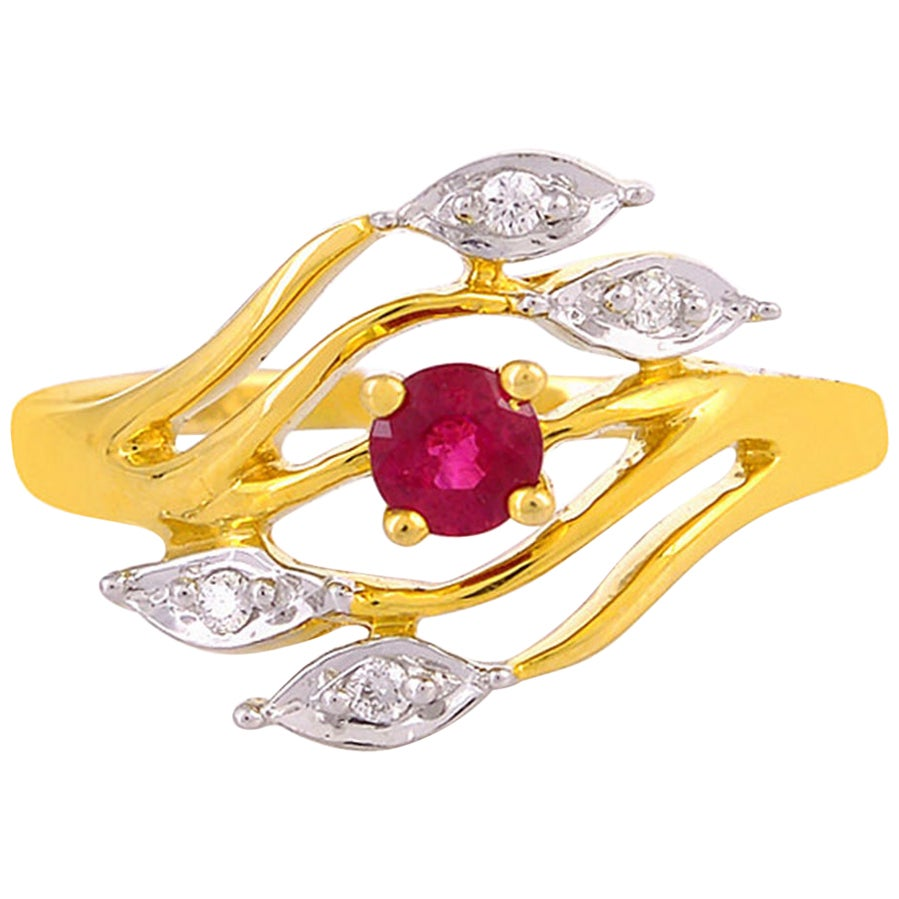 Ruby Diamond 18 Karat Gold Eternity Ring
