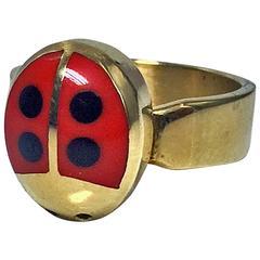Walter Schluep Red Enamel Gold Ladybug Ring.
