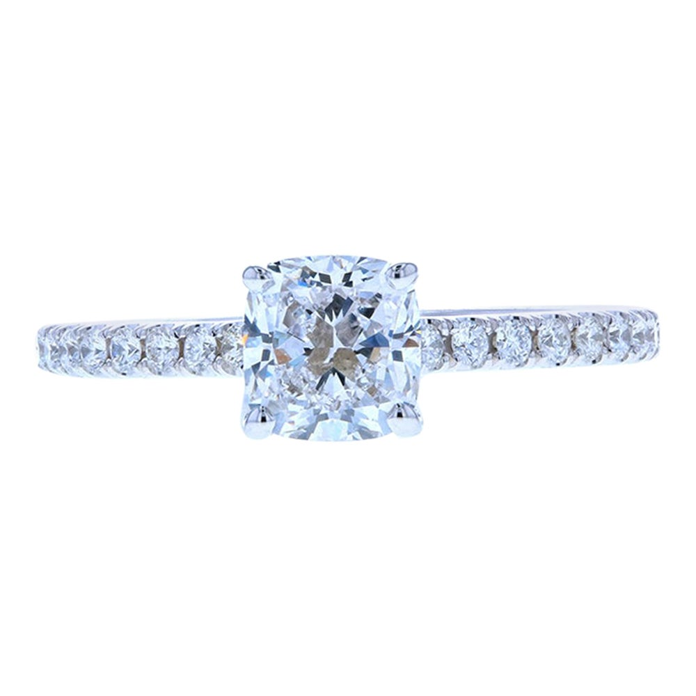 Cushion Cut Diamond Engagement Ring with Wire Around the Basket