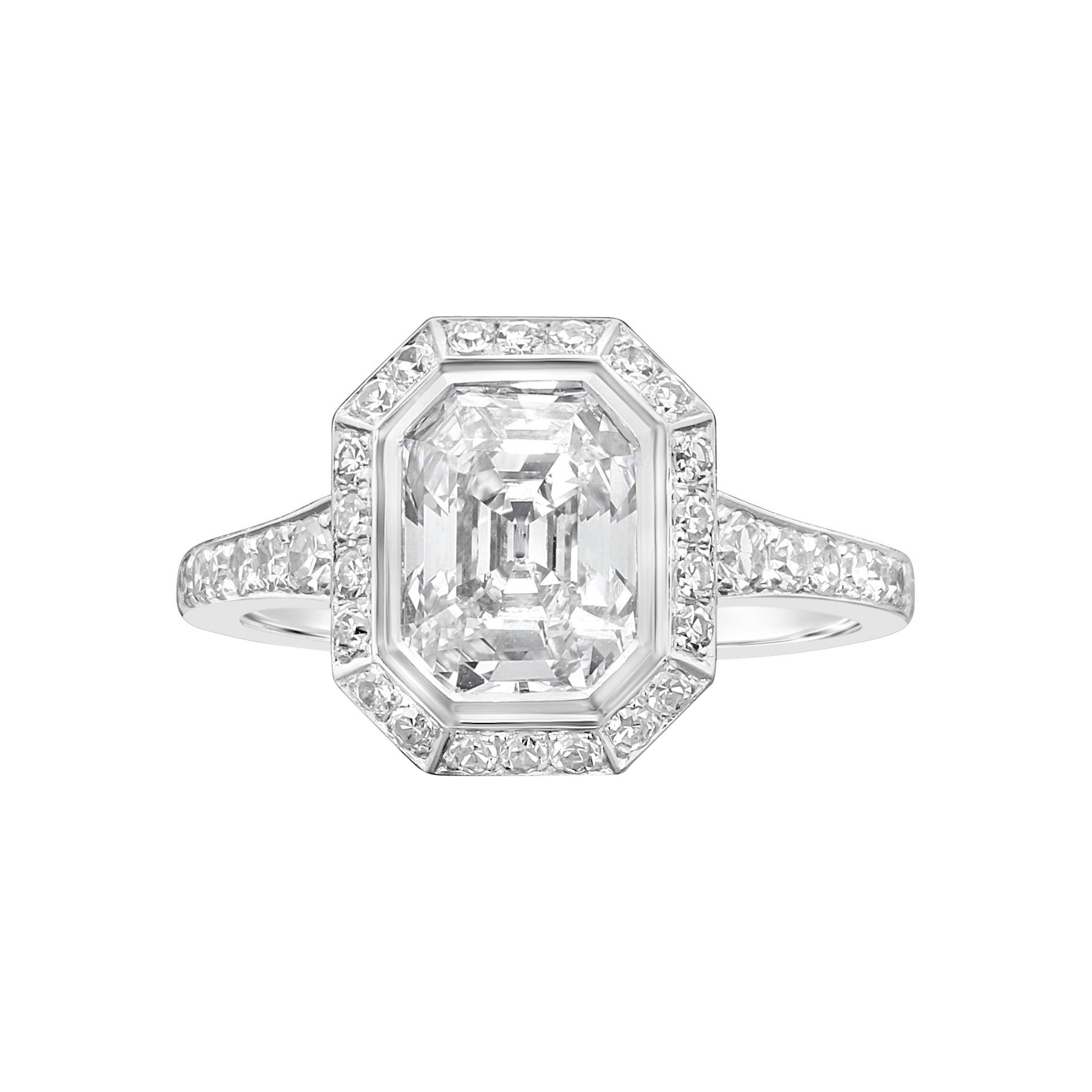 Hancocks 1.82 Carat Emerald-Cut Diamond Ring with a Diamond-Set Halo