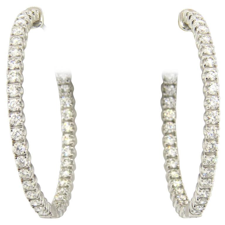 f8627bd65 Tiffany & Co. Metro Inside Out Diamond Gold Hinged Hoop Earrings For Sale.  Impressive 18k white ...