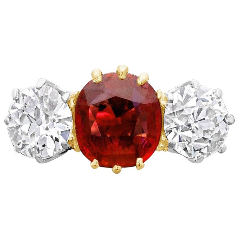 1.83 Carat Vintage Old Burmese Ruby and Old Cut Diamond Three-Stone Ring