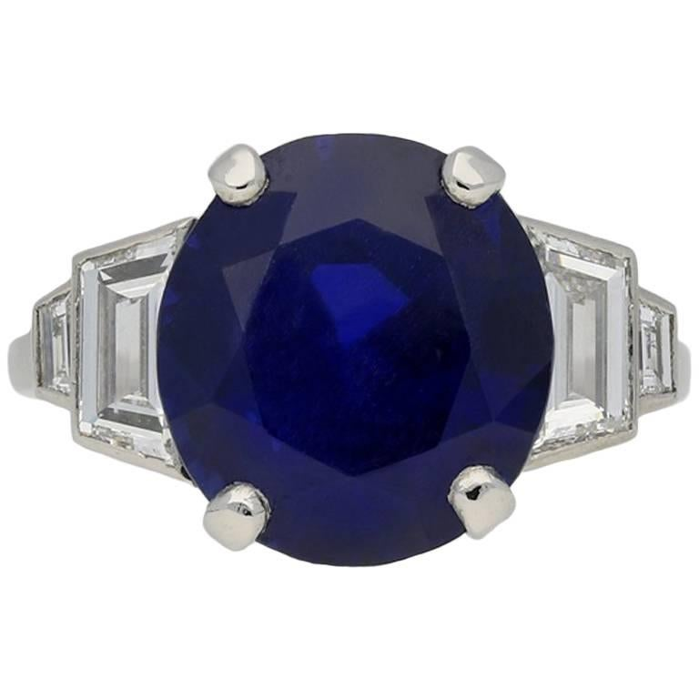 6.99 Carat Unenhanced Burmese Sapphire and Diamond Ring