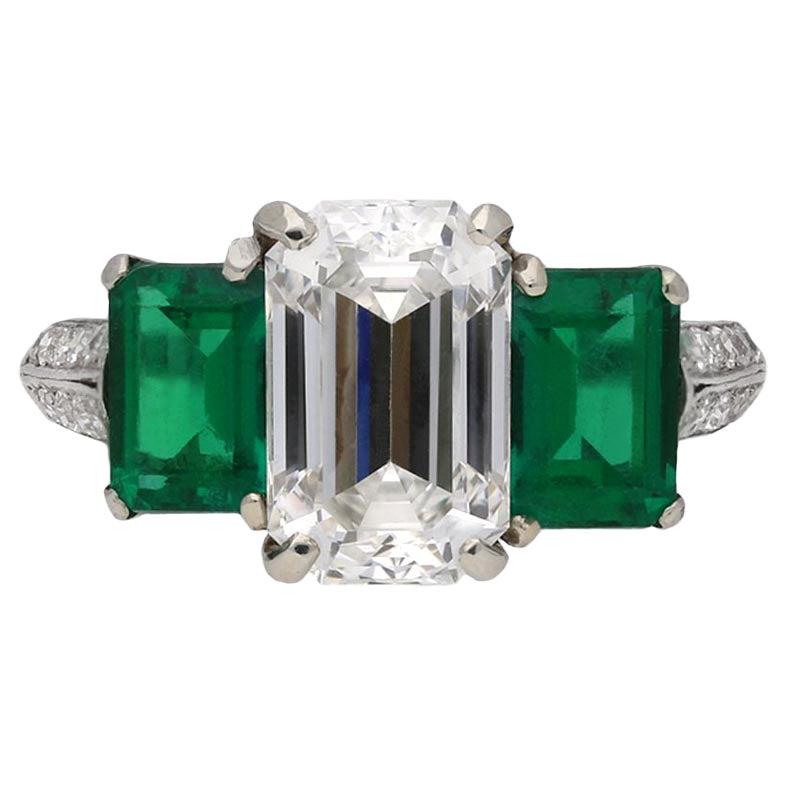Diamond and Natural Unenhanced Emerald Three-Stone Ring