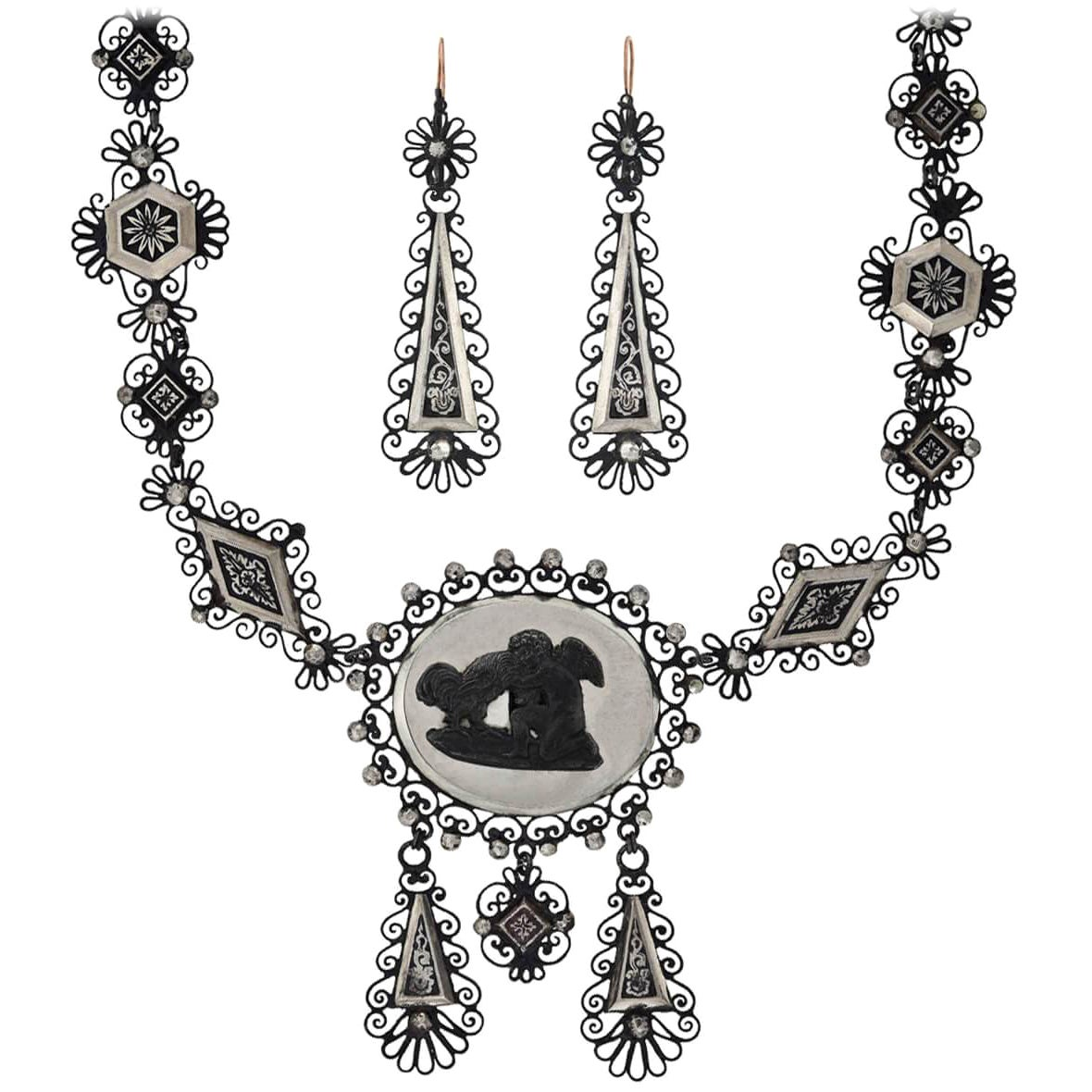 Georgian Berlin Iron and Mirrored Cut Steel Necklace and Earring Set