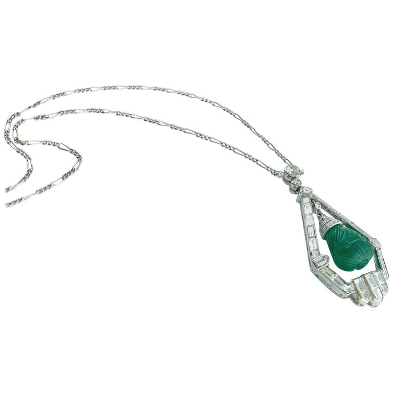 Engraved Emerald Diamond Platinum Demi-Parure