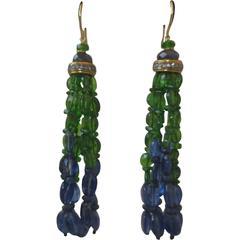 Kyanite, Sapphire, and Tsavorite Tassel Earrings with 14 k Yellow Gold