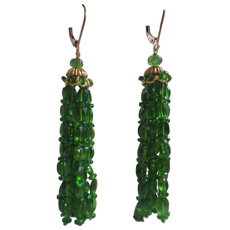 Marina J. Tsavorite Gold Tassel Earrings 1