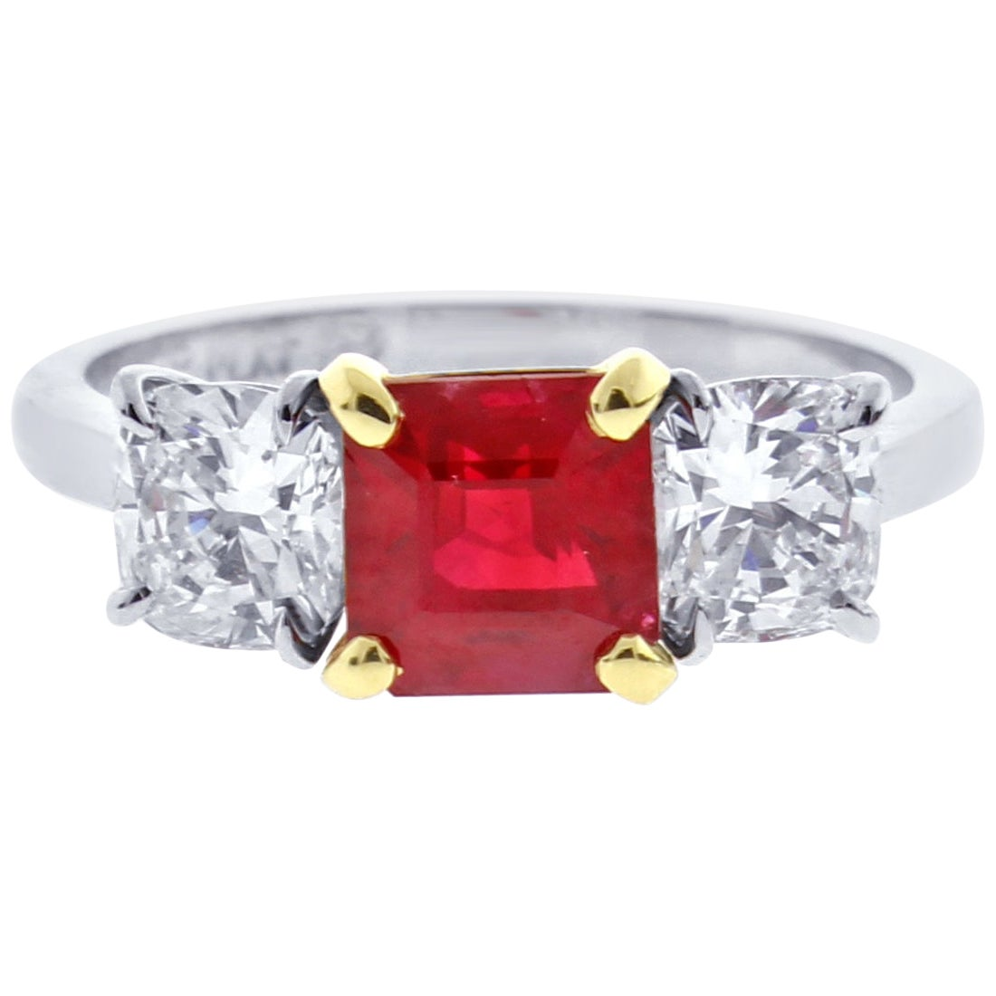 A.G.L. Burma Ruby and Diamond Thee-Stone Ring, by Pampillonia