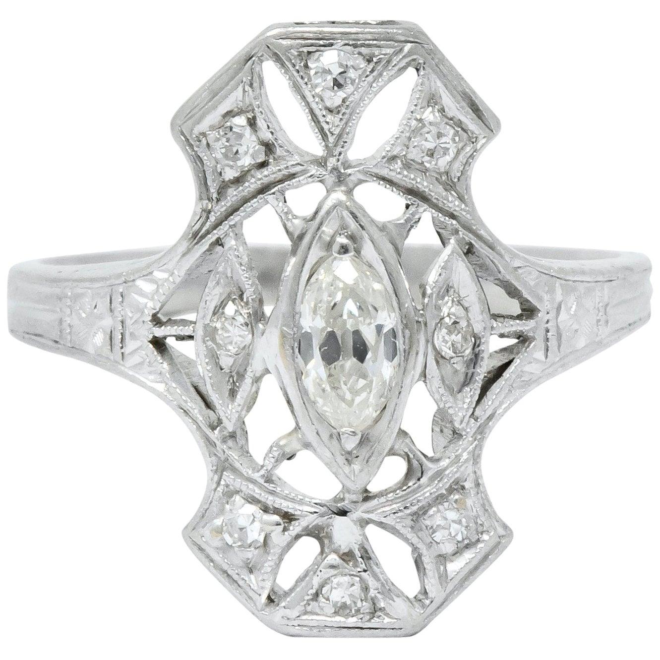 Intriguing Art Deco 0.50 Carat Diamond Platinum Dinner Ring