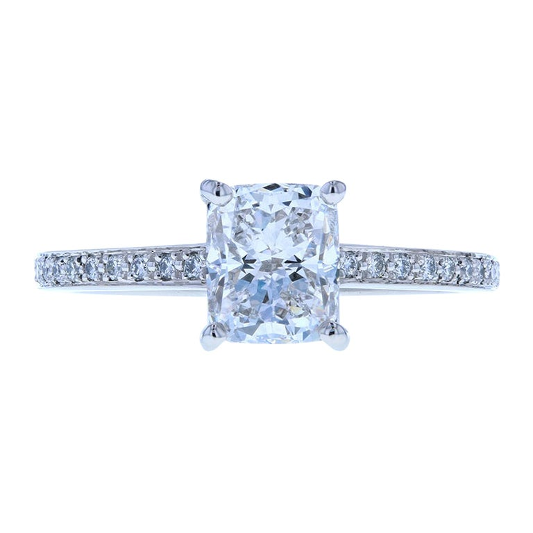 Elongated Cushion Cut Diamond Engagement Ring with Diamond Pave in Platinum