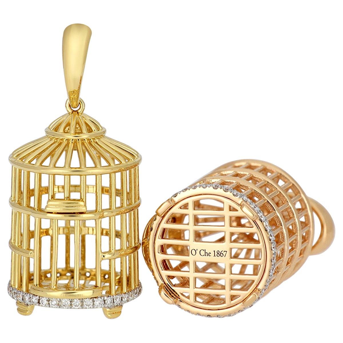 18 Karat Gold Bird Cage Diamond Pendant with Necklace