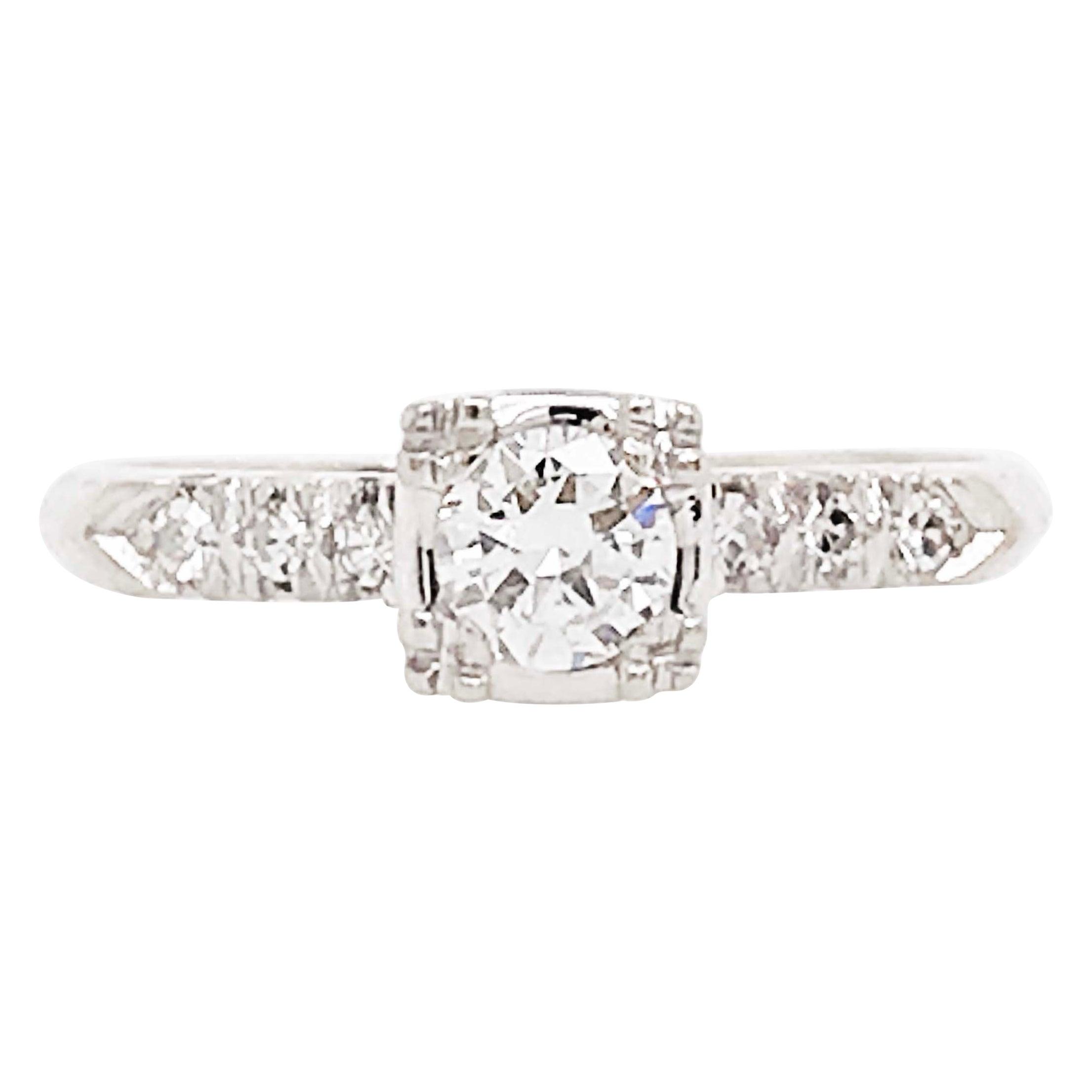 Platinum Diamond Ring, 0.50 Carat Old European Diamond and Side Diamond Estate