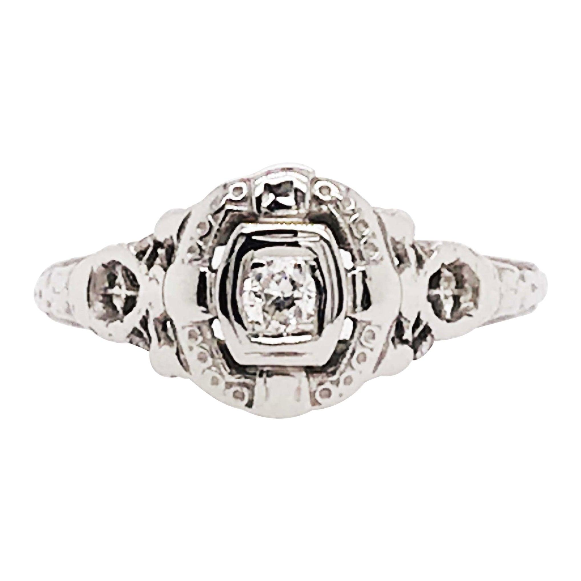 Round Diamond Ring, Antique 0.05 Carat Estate Engagement n 18 Karat White Gold